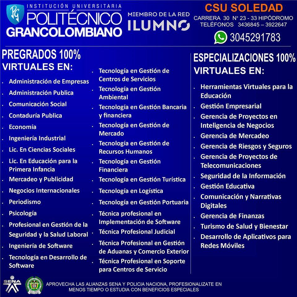 politecnico gran colombiano programas