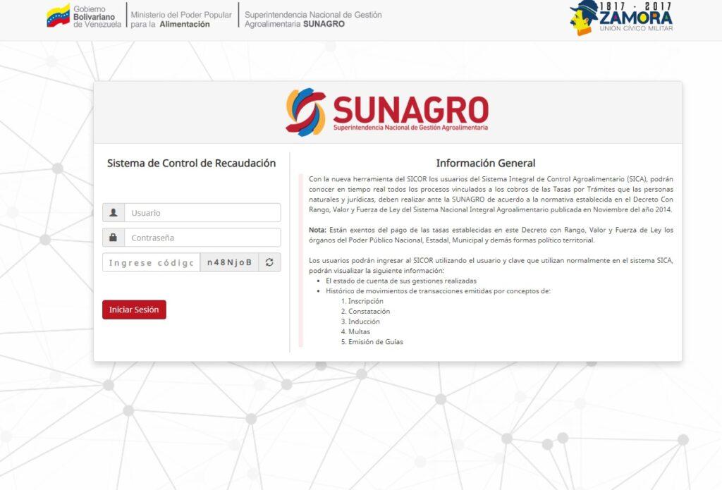 INICIAR SESIÓN SICOR SUNAGRO