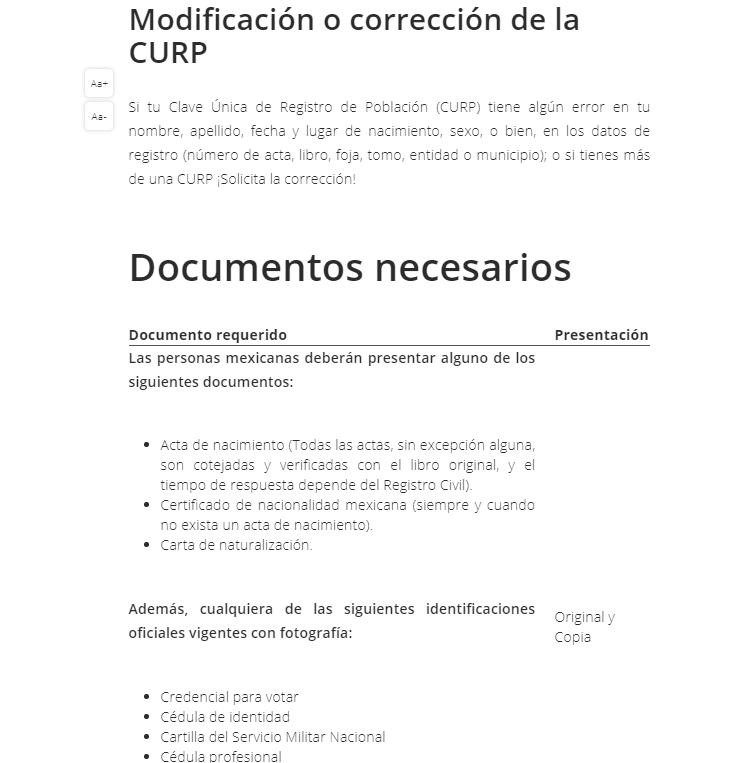 Modificación o corrección de la CURP