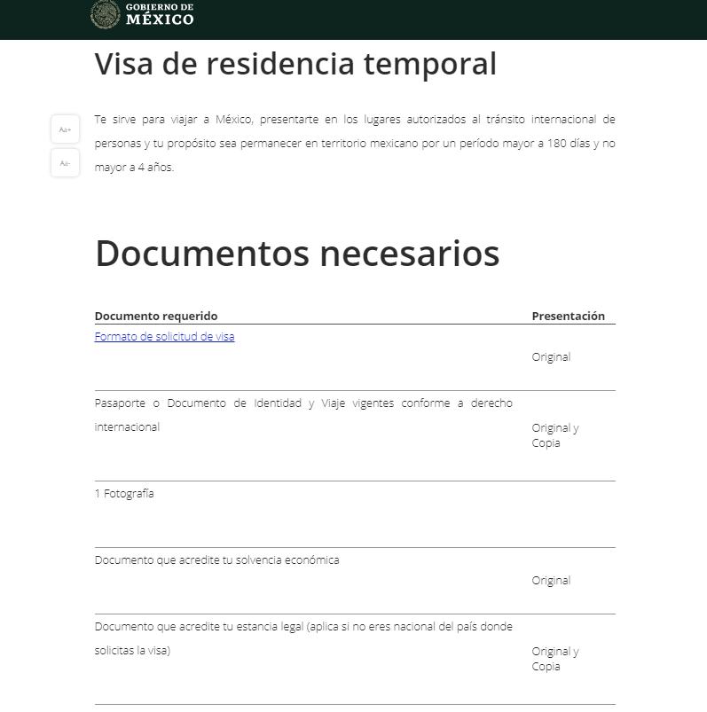 Visa de residencia temporal