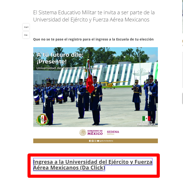 Educación Militar, Admisión