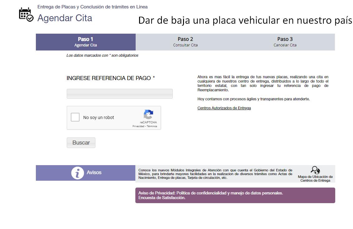 pagina para dar de baja una placa vehicular en nuestro país