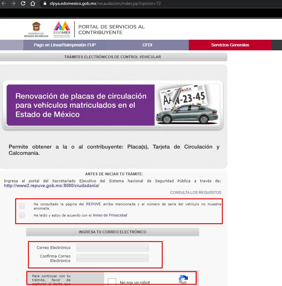portal servicios al contribuyente reemplacar