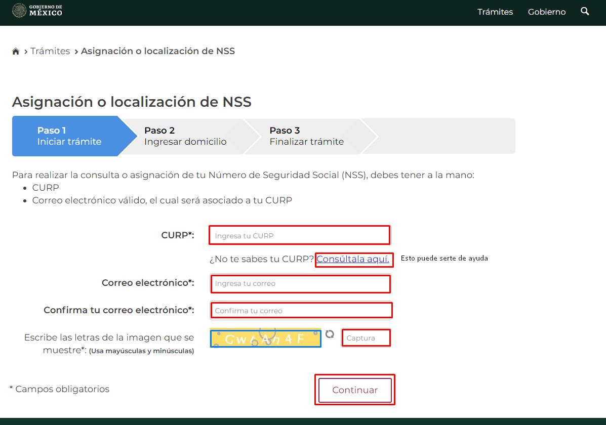 Asignación o localización de NSS