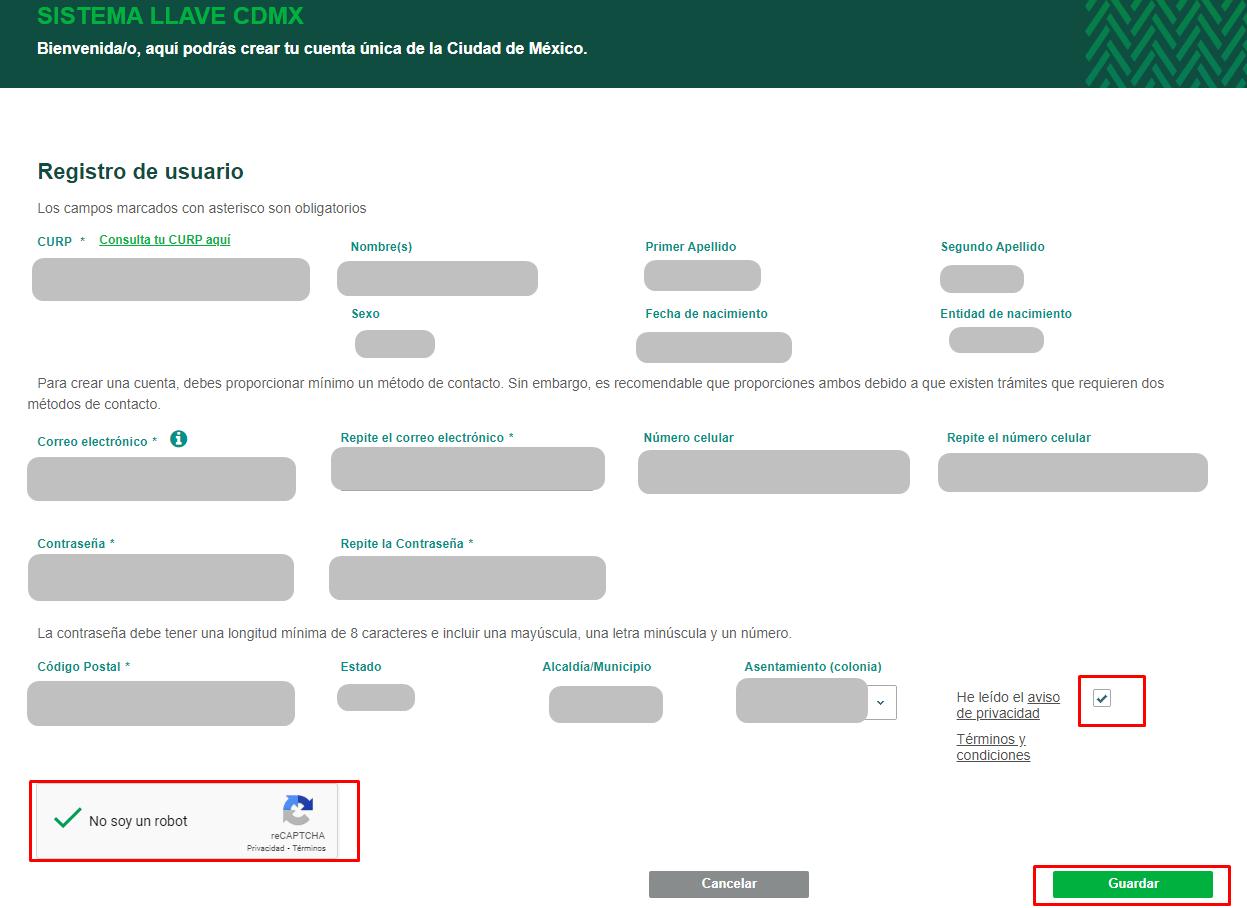 registro en el sistema llave CDMX