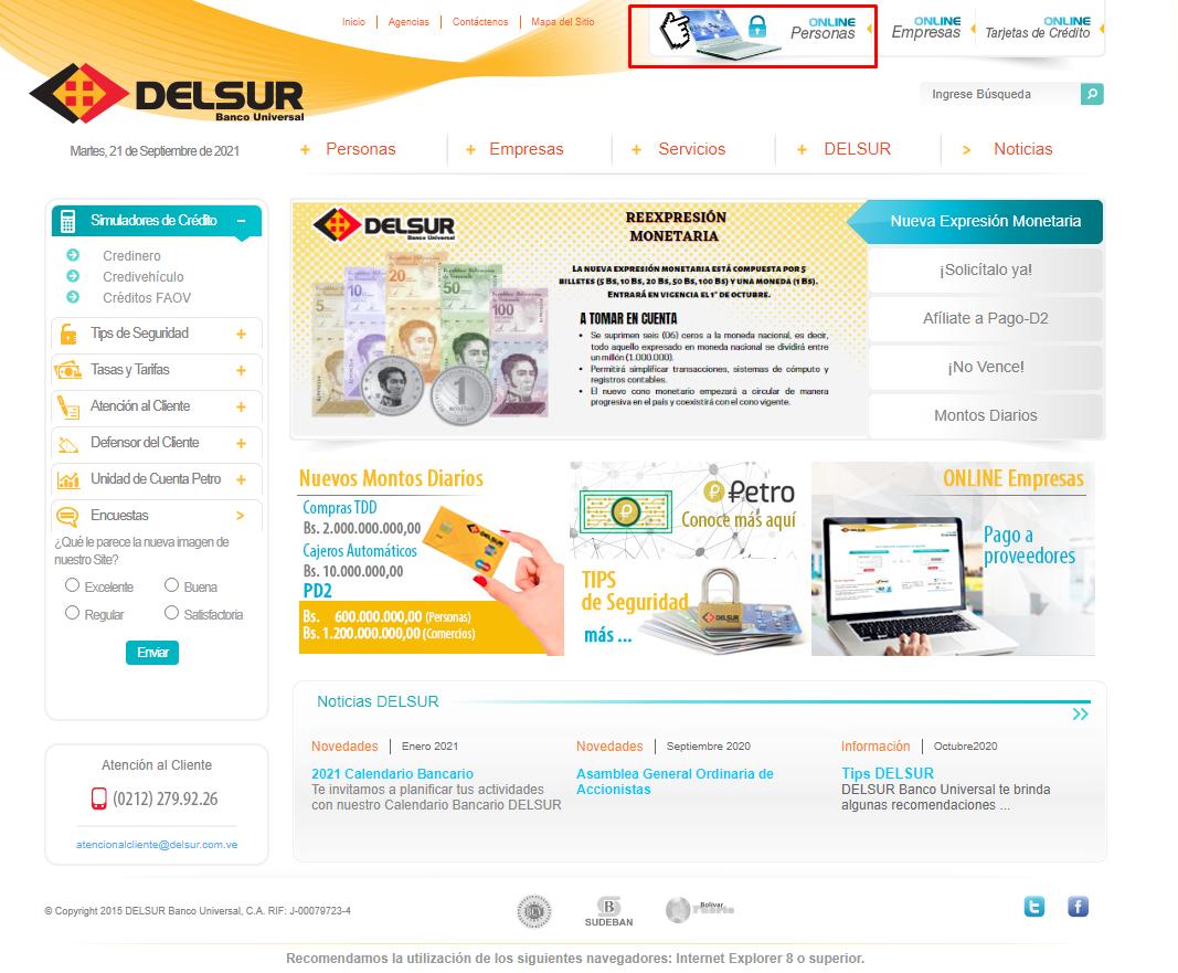 Banco Del Sur online ingreso de personas