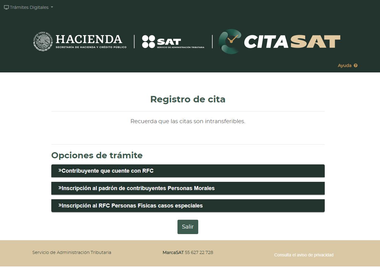 Opciones de trámite para registrar cita en SAT en linea