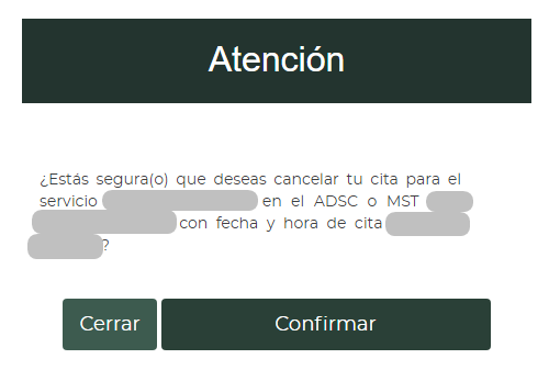 aviso de cancelación de cita