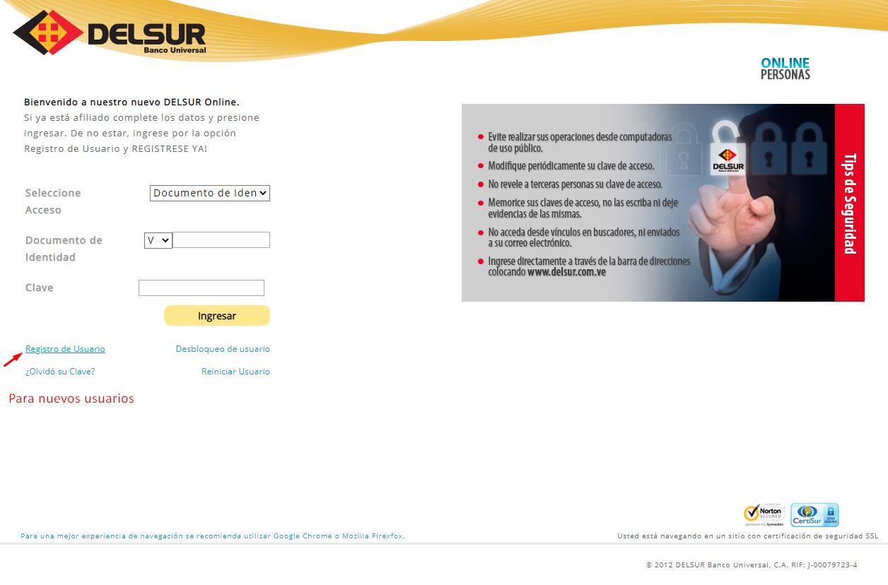 nuevos usuarios para Banco Del Sur online