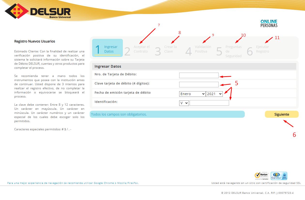 registro de nuevos usuarios en la plataforma online del Banco del Sur